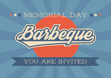 Memorial Day background. Vector illustration with text and ribbon for retro posters, flyers. Barbeque invitation. Royalty Free Stock Image