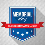 Memorial Day background. Vector illustration with text, stars and ribbon for posters, flyers, decoration. White text with long shadows Royalty Free Stock Photo