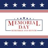 Memorial Day bakgrund med stjärnor och band Mall för den Memorial Day inbjudan, hälsningkort, baner och stock illustrationer