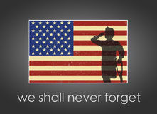 Memorial Day banner with American Flag and soldier on it. Stock Photography