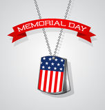 Memorial Day banner design with soldier dog tags and flag. Memorial Day design with soldier dog tags, banner and flag Royalty Free Stock Images