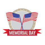 Memorial day. Banner with a pair of flags on a white background Royalty Free Stock Image
