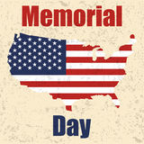Memorial day banner with USA map, flag and grunge. Vector illustration Royalty Free Stock Photography