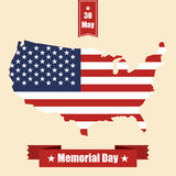 Memorial day banner with USA map, flag and ribbons. Vector illustration Stock Photo