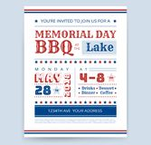 Memorial Day Barbeque BBQ flyer invitation design template vector. Memorial Day Barbeque BBQ invitation design template vector barbecue party flyer sample stock illustration