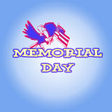 Memorial Day. Bird wishing happy memorial day with US flag in hand Royalty Free Stock Image