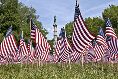 Memorial day in Boston. A monument of all the fallen soldiers in Massachusetts, one flag for each fallen soldier in Boston Commons Stock Image