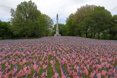 Memorial day in Boston Commons. Memorial day in Boston Commons, Americans Flags for every solder from Massachusetts royalty free stock image