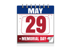 Memorial Day calendar 2017. 29 May. Memorial Day calendar. Memorial Day 2017 date in the calendar. 29 May. Red and blue calendar isolated on white background Stock Photos