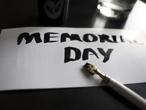 Memorial day calligraphy and lettering post card. Perspective and close-up view. stock photo