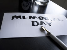 Memorial day calligraphy and lettering post glossy card. Perspective view. stock photography