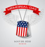 Memorial Day card with soldier`s dog tags with flag Royalty Free Stock Photo