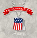 Memorial Day card with soldier`s dog tags with flag Royalty Free Stock Images
