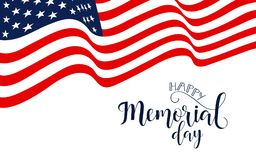 Memorial Day card. Festive poster or banner with hand lettering. National american holiday illustration with USA flag. Memorial Day card. National american Stock Photos
