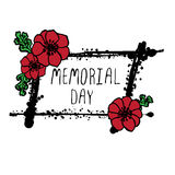Memorial day card with poppies Stock Images