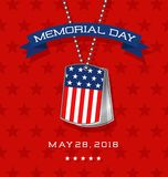 Memorial Day card with soldier`s dog tags with flag Stock Photos
