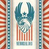Memorial Day Cartão tipográfico com o americano Imagem de Stock Royalty Free