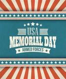 Memorial Day Cartão tipográfico com o americano ilustração stock