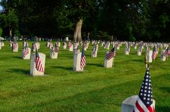 Memorial Day cemetary with flags stock images