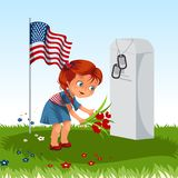 Memorial Day, childs on military cemetery, little girl lays flowers on grave war veteran, family children honoring. Memory fallen heroes, americans tokens and Stock Photo