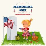 Memorial Day, childs on military cemetery, little girl lays flowers on grave war veteran, family children honoring. Memory fallen heroes, americans tokens and Stock Photography