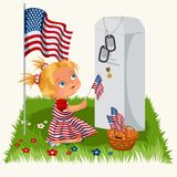 Memorial Day, childs on military cemetery, little girl lays flowers on grave war veteran, family children honoring. Memory fallen heroes, americans tokens and Royalty Free Stock Image