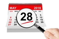 Memorial Day Concept. 28 may 2018 calendar with magnifier. On a white background Royalty Free Stock Photos