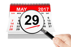 Memorial Day Concept. 29 may 2017 calendar with magnifier. On a white background Stock Photos