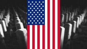 Memorial Day de Verenigde Staten van Amerika Amerikaanse Vlag met Cemet Stock Afbeeldingen
