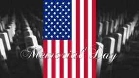 Memorial Day de Verenigde Staten van Amerika Amerikaanse Vlag met Cemet Royalty-vrije Stock Fotografie