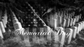 Memorial Day de Verenigde Staten van Amerika Amerikaanse Vlag met Cemet Royalty-vrije Stock Afbeeldingen