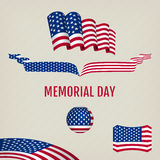 Memorial day design elements. American flag in various forms. Flags and tape for design for the Memorial Day. Vector objects on a light background Stock Images