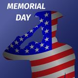 Memorial day design with saluting solder. Stock Image