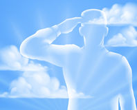 Memorial Day Design. A soldier saluting with cloud sky background, design for Memorial Day or Veterans Day Royalty Free Stock Photos