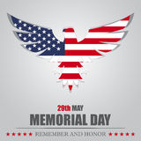 Memorial Day. Eagle with USA flag inside stock illustration
