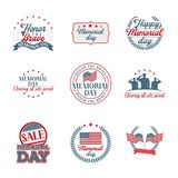 Memorial day emblems set stock illustration
