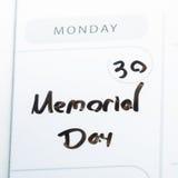 Memorial Day en un calendario Imágenes de archivo libres de regalías