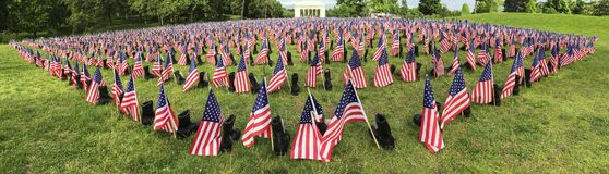 Memorial Day fallen soldier flags and boots banner royalty free stock image