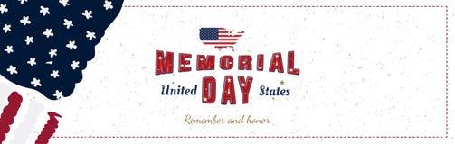 Memorial Day feliz La tarjeta de felicitaci?n con la fuente original y los E.E.U.U. trazan y bandera Plantilla por d?as de fiesta libre illustration