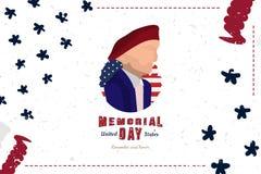 Memorial Day feliz Tarjeta de felicitación con el soldado y la fuente original y la bandera de los E.E.U.U. Plantilla por d?as de ilustración del vector