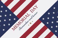 Memorial Day feliz Tarjeta de felicitación con la bandera y soldado en fondo libre illustration