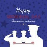 Memorial Day feliz Tarjeta de felicitación con la bandera y soldado en fondo Evento americano nacional del día de fiesta Imagen de archivo