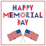 Memorial Day feliz Tarjeta de felicitación con las banderas aisladas en un fondo blanco Evento americano nacional del día de fies Imagen de archivo libre de regalías