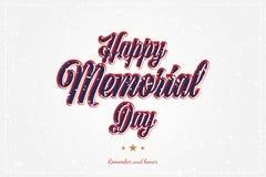 Memorial Day feliz Tarjeta de felicitaci?n con la fuente y las estrellas originales Plantilla por d?as de fiesta americanos con t stock de ilustración