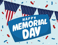 Memorial Day Festive Poster with Confetti, Vector Illustration Stock Image