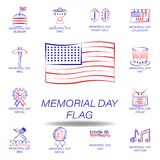 memorial day flag colored icon. Set of memorial day illustration icon. Signs and symbols can be used for web, logo, mobile app, UI