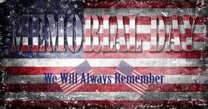 Memorial Day -Flagge und Beschriftung 4 Stockfotos