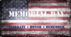 Memorial Day -Flagge und Beschriftung 2 Stockfotografie
