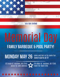 Memorial Day Flyer template. Memorial Day Barbeque Flyer background Template with American Flag Stock Photo