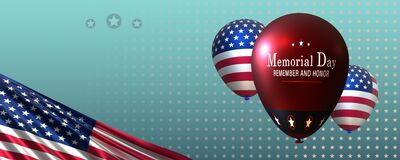 Free Memorial Day Greeting,banner, Or Newsletter Header With Three Balloons, US-flag . Stock Photography - 183213022